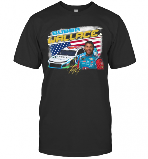Bubba Wallace Athletes Racing American Flag Independence Day Signature T-Shirt Classic Men's T-shirt