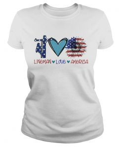 Lineman love heart sunflower American flag veteran Independence Day  Classic Ladies