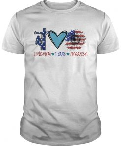 Lineman love heart sunflower American flag veteran Independence Day  Unisex