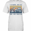 A Woman Her Paw Dog And Her Tractor Vintage Retro T-Shirt Classic Men's T-shirt