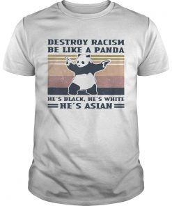 Destroy racism be like a panda Hes black Hes white Hes Asian Vintage retro  Unisex