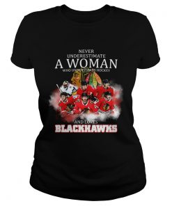 Never underestimate a woman who understands hockey and loves blackhawks logo  Classic Ladies