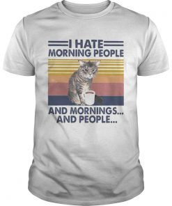 Cat drink I hate morning people and mornings and people vintage retro  Unisex