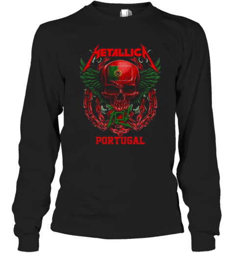 Skull Metallica Portugal Flag T-Shirt Long Sleeved T-shirt