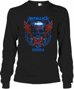 Skull Metallica Russia Flag T-Shirt Long Sleeved T-shirt