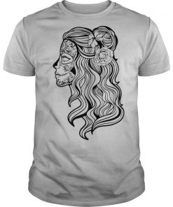 Black And White Beautiful Woman Skull With Smooth Hair Día De Los Muertos shirt