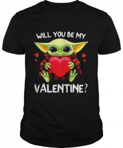 Baby Yoda Hug Heart Will You Be My Valentine  Classic Men's T-shirt