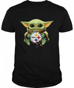 Baby Yoda Hug Pitbull Steelers Logo 2021  Classic Men's T-shirt