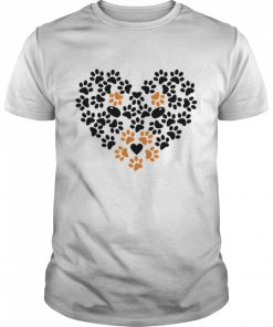 Heart Shape Paw Print Black and Brown Dog Valentines Day  Classic Men's T-shirt
