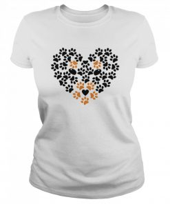 Heart Shape Paw Print Black and Brown Dog Valentines Day  Classic Women's T-shirt